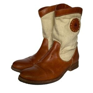 Frye leather & canvas boots 7 1/2